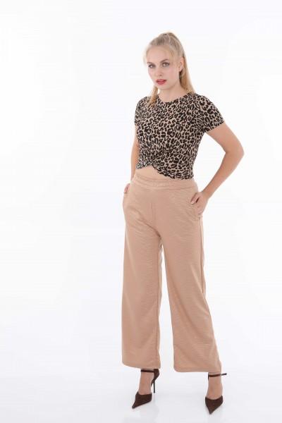 Zebra Desenli Düz Paça 2 İplik Kadın Pantolon