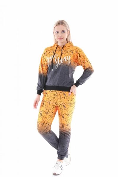 Kadın Eşofman Takım 3 İplik Kumaş Dijital Baskı ve Taş Baskı Geçişli Desen Avrupa Kalıp Rahat Spor Giyim Günlük Şıklık