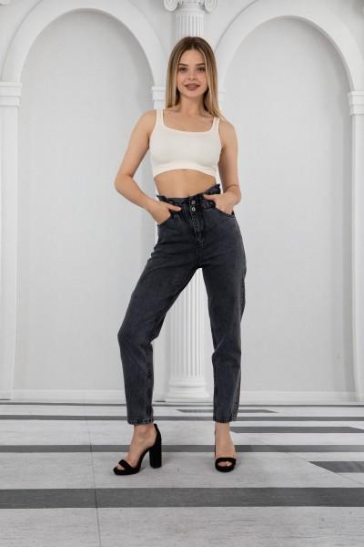 Bayan Bel Lastikli Yüksek Bel Kalın Kumaş Kot Pantolon